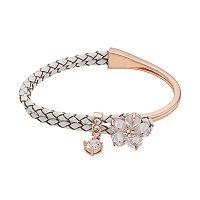 Brilliance Cubic Zirconia Braided White Leather Flower Bracelet with Swarovski Crystals