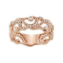 10k Rose Gold 1/4 Carat T.W. Diamond Filigree Ring