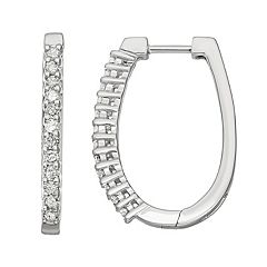 10k White Gold 1/2 Carat T.W. Diamond Oval Hoop Earrings