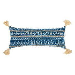 Mina Victory Lifestyles Boho Stitch Print Oblong Throw Pillow