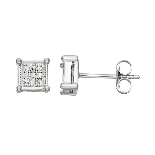 10k White Gold 1/10 Carat T.W. Diamond Square Stud Earrings