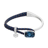 Brilliance Cubic Zirconia Braided Navy Blue Leather Bracelet with Swarovski Crystals