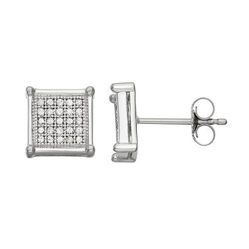 10k White Gold 1/4 Carat T.W. Diamond Square Stud Earrings
