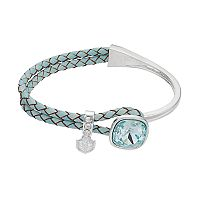 Brilliance Cubic Zirconia Braided Blue Leather Bracelet with Swarovski Crystals