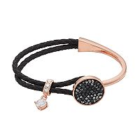 Brilliance Cubic Zirconia Braided Black Leather Bracelet with Swarovski Crystals