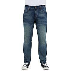 Men's Seven7 Brown Tint Slim-Fit Straight-Leg Jeans