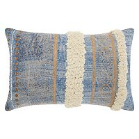 Mina Victory Lifestyles Metallic Texture Boho Oblong Throw Pillow