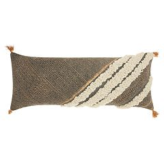 Mina Victory Lifestyles Diagonal Metallic Texture Boho Oblong Throw Pillow