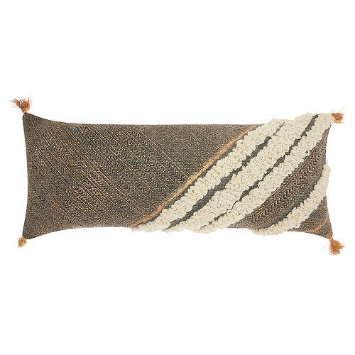 Mina Victory Lifestyles Diagonal Metallic Texture Boho Oblong Throw Pillow