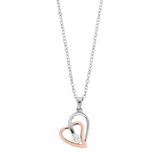 Brilliance 14k Rose Gold Plated Double Heart Pendant with Swarovski Zirconia