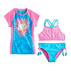Girls 7-16 & Plus Size SO® 'Love' Rashguard, Double Criss-Cross Bikini Top & Bottoms Swimsuit Set