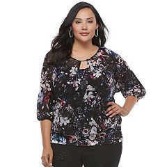 Plus Size Jennifer Lopez Surplice Mesh Top