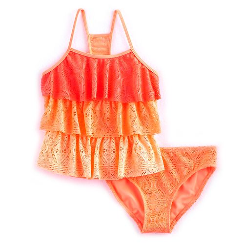 Girls 4-16 & Plus Size SO® Crochet Tiered Tankini Top & Bottoms Swimsuit Set