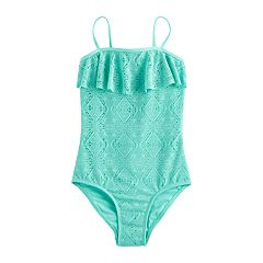 Girls 4-16 SO® Crochet Flounce One-Piece Swimsuit