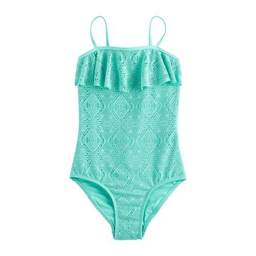 Girls 4-16 SO® Crochet Flounce One-Piece Swimsuit