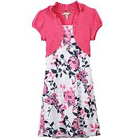 Girls 7-16 & Plus Size Speechless Mock-Layered Cardigan Floral Dress with Necklace