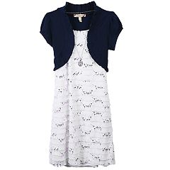 Girls 7-16 & Plus Size Speechless Mock-Layered Cardigan Dress with Necklace