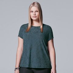 Plus Size Simply Vera Vera Wang Textured Tonal Tee