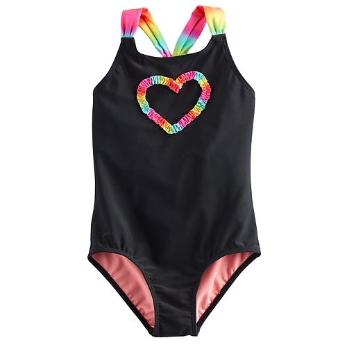 Girls 4-18 & Plus SO® Rainbow Heart Graphic One-Piece Swimsuit
