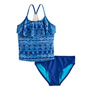 Girls 7-16 & Plus Size SO® Crochet Racerback Patterned Tankini Top & Bottoms Swimsuit Set