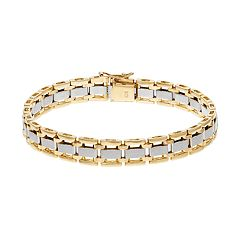 Men's Two Tone 10k Gold Rectangle Link Bracelet