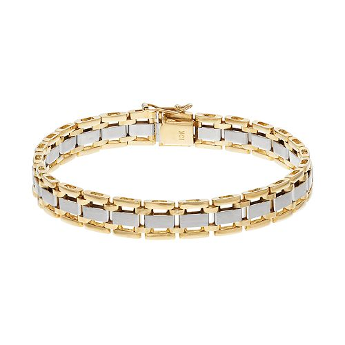 Men's Two Tone 10k Gold Rectangle Link Bracelet
