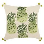 Mina Victory Royal Palm Four Pineapples Throw Pillow