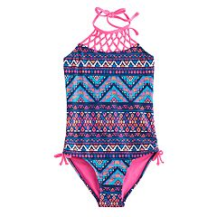 Girls 7-16 & Plus Size SO® Halter Knotted Yoke Tribal One-Piece Swimsuit