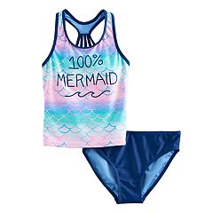Girls 7-16 SO® '100% Mermaid' Racerback Tankini Top & Bottoms Swimsuit Set