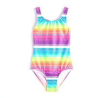 Girls 4-16 SO® Rainbow Knotted Back One-Piece Swimsuit