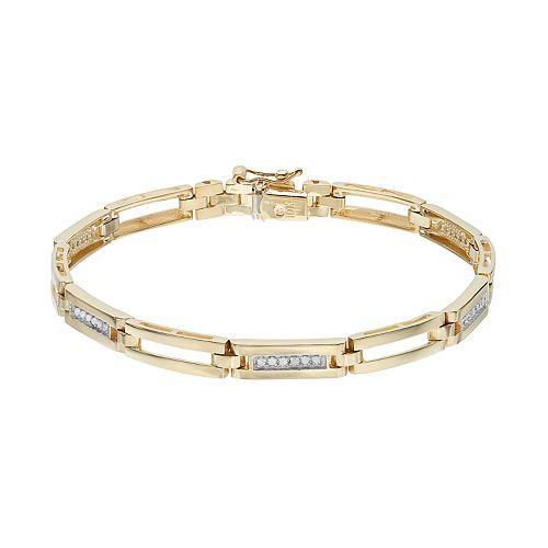 Men's 10k Gold 1/4 Carat T.W. Diamond Rectangle Link Bracelet