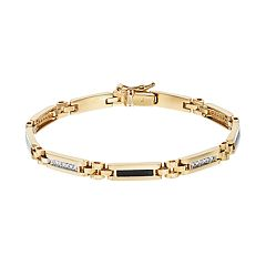 Men's 10k Gold 1/4 Carat T.W. Diamond & Onyx Rectangle Link Bracelet