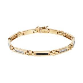 Men's 10k Gold 1/4 Carat T.W. Diamond & Onyx Rectangle Link Bracelet