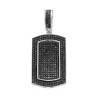 Men's 10k White Gold 1 Carat T.W. Black Diamond Dog Tag Pendant