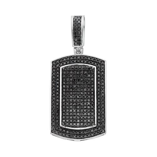 e1b63f4bd Men's 10k White Gold 1 Carat T.W. Black Diamond Dog Tag Pendant