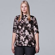 Plus Size Simply Vera Vera Wang Chiffon Roll-Tab Shirt