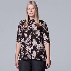 Plus Size Simply Vera Vera Wang Chiffon Roll-Tab Shirt