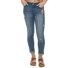 Juniors' Tinseltown Embroidered Skinny Ankle Jeans