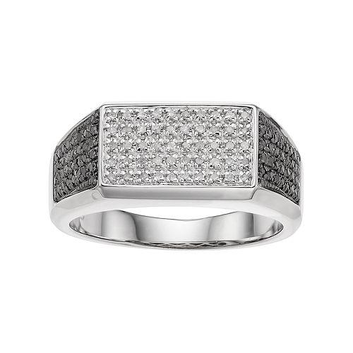 Men's Sterling Silver 1/2 Carat T.W. Black & White Diamond ring