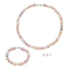 Sterling Silver Freshwater Cultured Pearl Necklace, Bracelet & Stud Earring Set