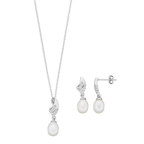 Sterling Silver Freshwater Cultured Pearl & Cubic Zirconia Pendant & Drop Earring Set