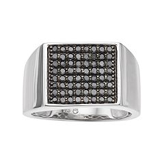 Men's Sterling Silver 3/4 Carat T.W. Black Diamond Ring