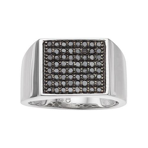 Men's Sterling Silver 3/4 Carat T.W. Black Diamond Ring