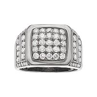 Men's Gunmetal Sterling Silver 2 Carat T.W. Diamond Ring