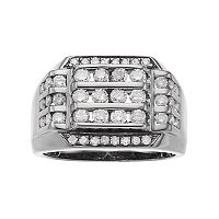 Men's Gunmetal Sterling Silver 1 1/2 Carat T.W. Diamond Channel Ring
