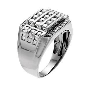 Men's Gunmetal Sterling Silver 1 1/2 Carat T.W. Diamond Channel Ring