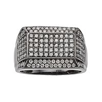 Men's Gunmetal Sterling Silver 1 1/2 Carat T.W. Diamond Pave Ring