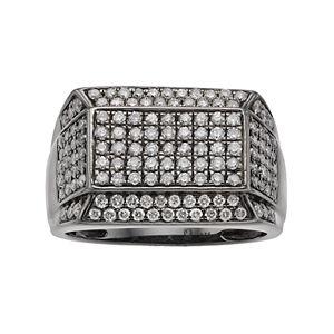 Men's Gunmetal Sterling Silver 1 1/2 Carat T.W. Diamond Pave Ring