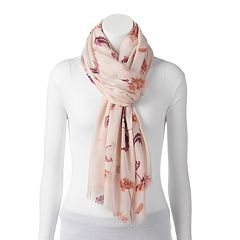 LC Lauren Conrad Painted Blooms Oversized Oblong Scarf