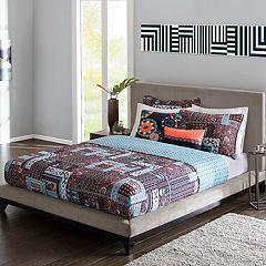 Josie by Natori 5 pc Woodblock Patchwork Reversible Quilt Set